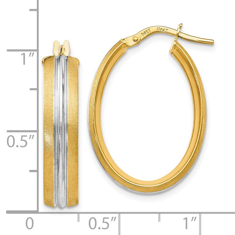 Leslie's Leslie's 14K Rhodium-plated Textured Hoop Earrings