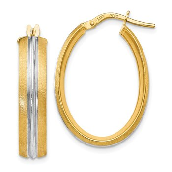 Leslie's 14K Rhodium-plated Textured Hoop Earrings