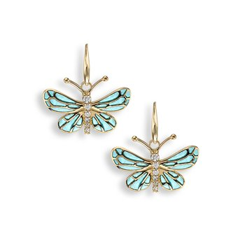 Turquoise Butterfly Wire Earrings.18K -Diamonds - Plique-a-Jour