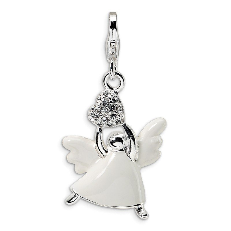 Quality Gold Sterling Silver Enameled Swarovski Element Angel w/Lobster Clasp Charm