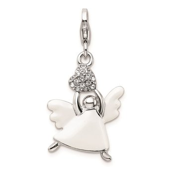 SS RH w/Lobster Clasp White Enameled Swarovski Crystals Angel Charm