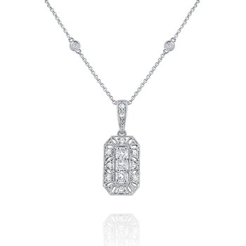 Diamond Antique Style Necklace Set in 14 Kt. Gold