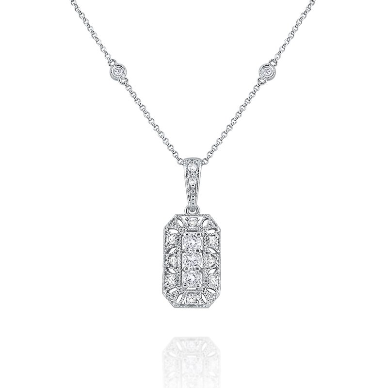 KC Designs Diamond Antique Style Necklace Set in 14 Kt. Gold