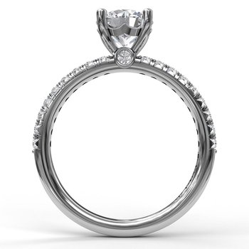 Petite Round Cut Solitaire With Pave Shank
