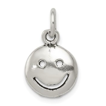 Sterling Silver Antiqued Smiley Face Charm