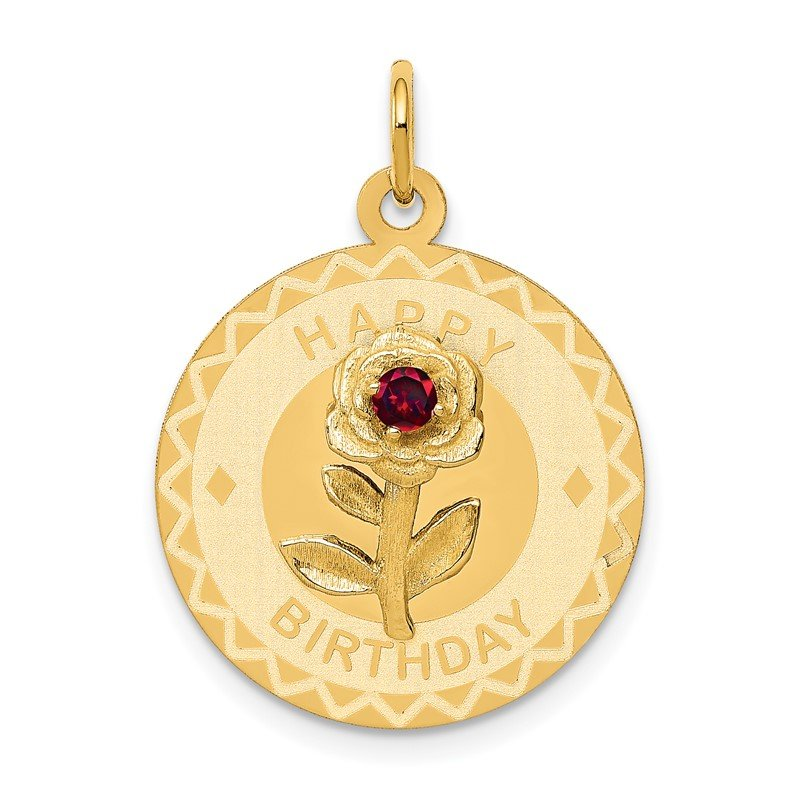 Quality Gold 14k HAPPY BIRTHDAY Disc Charm with CZ Flower