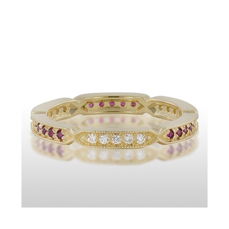 Novell Ladies' Yellow Gold Ruby and Diamond Ring