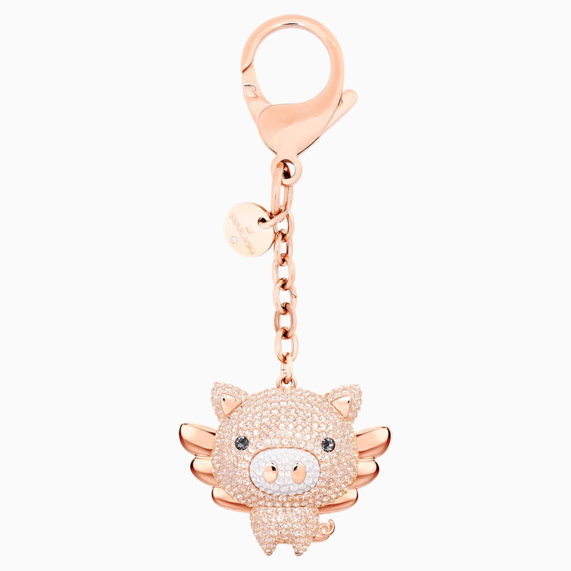 Swarovski Little Pig Bag Charm, Pink, Mixed plating