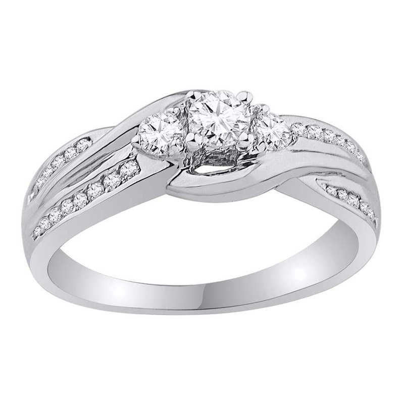 Gold-N-Diamonds 10k White Gold Womens Round 3-stone Diamond Bridal Wedding Engagement Ring 1/2 Cttw