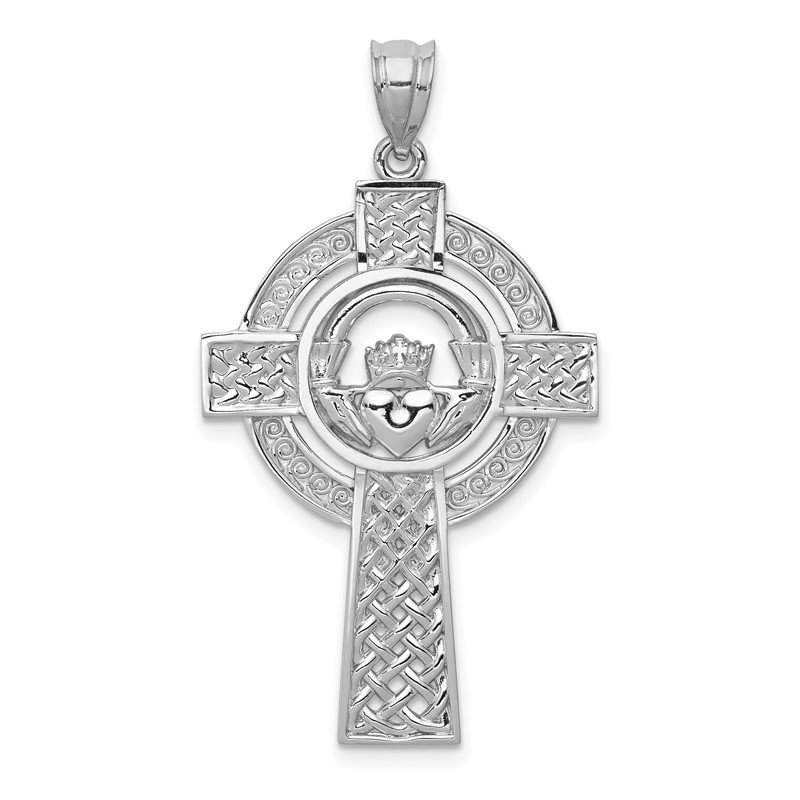 Quality Gold 14k White Gold Celtic Claddagh Cross Pendant