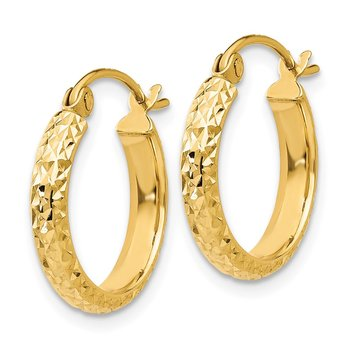 14K Diamond-cut 2.8x15mm Hollow Hoop Earrings