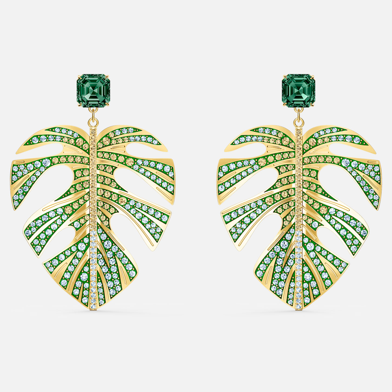 Swarovski Tropical Leaf Pierced Earrings, Green, Gold-tone plated