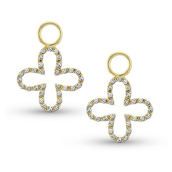 Diamond Clover Earring Charms in 14k Yellow Gold with 64 Diamonds weighing .24ct tw.