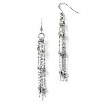 Leslie's Sterling Silver Polsihed Beaded Shepherd Hook Earrings