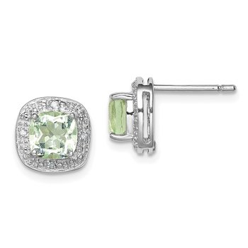 Sterling Silver Rhodium Green Quartz Diamond Earrings