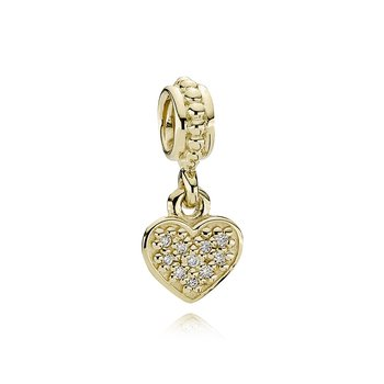 Pavé Hanging Heart, Gold Dangle With 0.06Ct Tw H/Vs Diamonds
