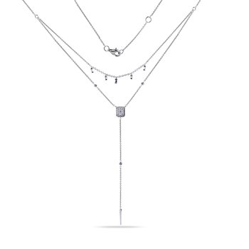 14K V Design Diamond Necklace 37 Diamonds 0.39C T.W.