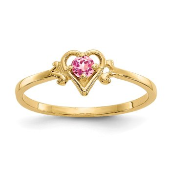 14K Pink Tourmaline Birthstone Heart Ring