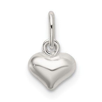 Sterling Silver Polished Puffed Heart Charm