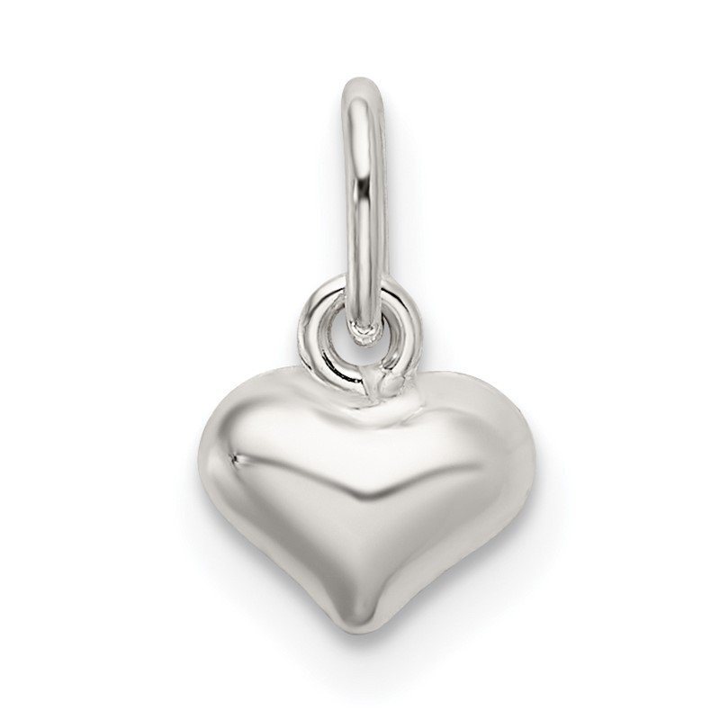 Quality Gold Sterling Silver Polished Puffed Heart Charm