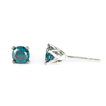 14K WG Blue Diamond Tiara Stud Earring 1.00 Cts
