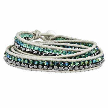 Green Aurora Borealis/Grey Crystal Bead Leather Multi-wrap Bracelet