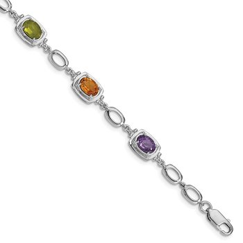 Sterling Silver Rhodium-plated Multi Gemstone Link Bracelet