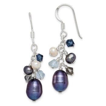 Sterling Silver Blue Crystal/Peacock and White FW Cultured Pearl Earrings