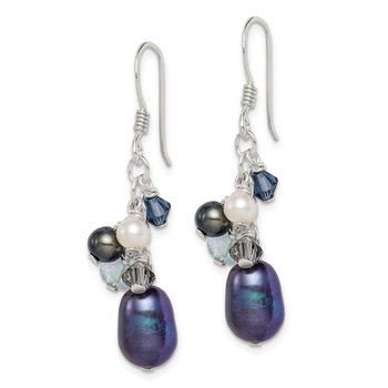 Sterling Silver Blue Crystal/Peacock/White FW Cultured Pearl Earrings