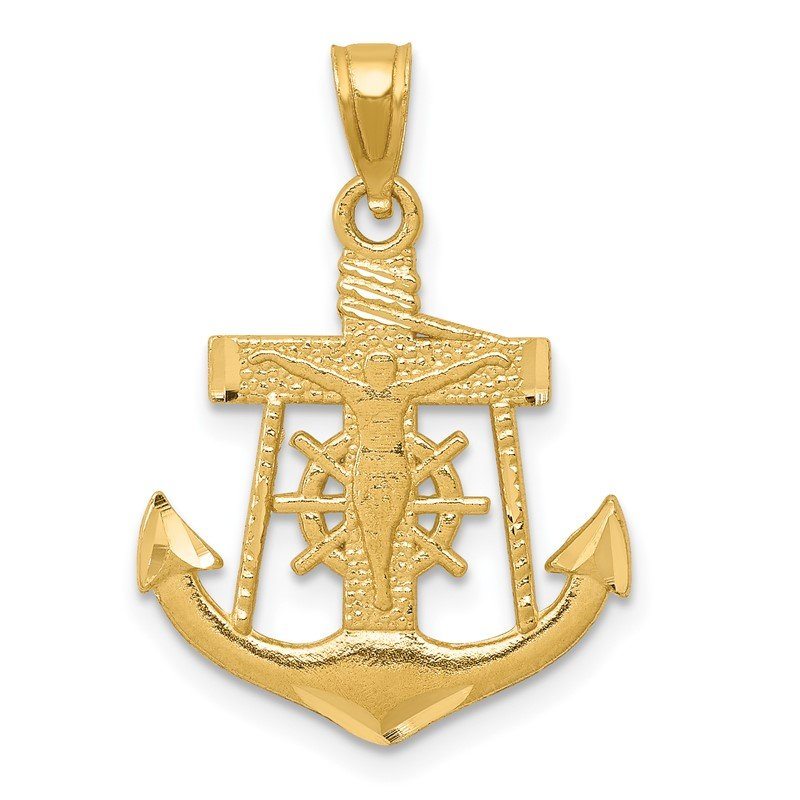 Quality Gold 14k Satin Diamond-cut Anchor w/Crucifix Pendant