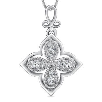 Diamond Pendant in 14K White Gold (.10 ct. tw.)