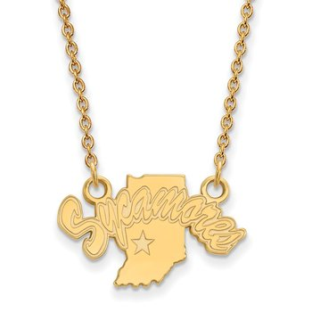Gold Indiana State University NCAA Necklace