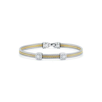 Grey & Yellow Cable Classic Stackable Bracelet with Double Square Station set in White Gold