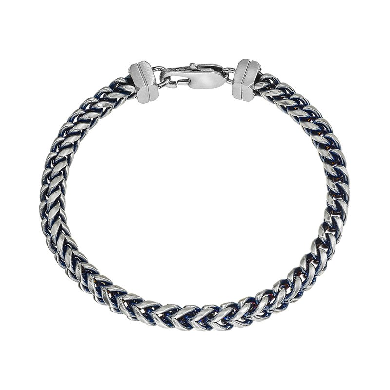 SDC Creations Men's Blue Steel H-Bone Chain Bracelet