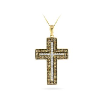 14K YG Champagne Diamond Cross Pendant