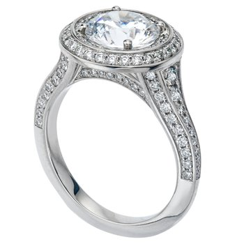 Two Row Halo Bead Set Diamond Engagement Ring