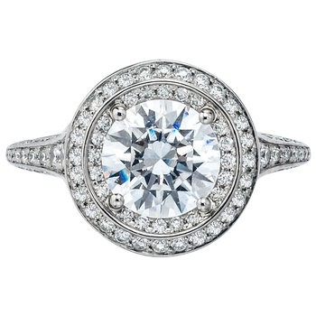 Mark Patterson Two Row Halo Bead Set Diamond Engagement Ring