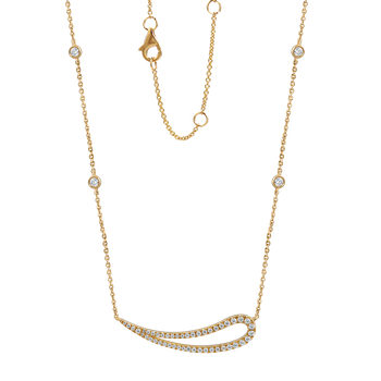 "BEAUTIFUL 14K NECKLACE 47 DIAMONDS 0.37CT  18"" CHAIN"
