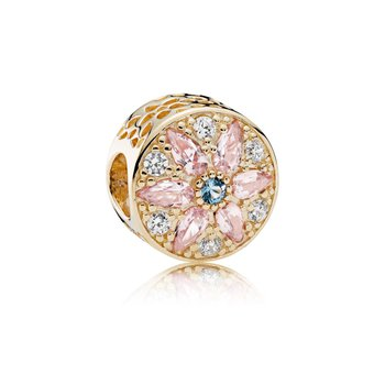 Opulent Floral Charm, 14K Gold, Multi-Colored Crystals Clear Cz