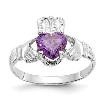 14k White Gold February CZ Birthstone Claddagh Ring