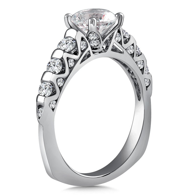 Diamond Engagement Ring Mounting in 14K White Gold with Platinum Head (.62 ct. tw.)