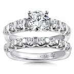 Caro74 Diamond Engagement Ring Mounting in 14K White Gold with Platinum Head (.62 ct. tw.)