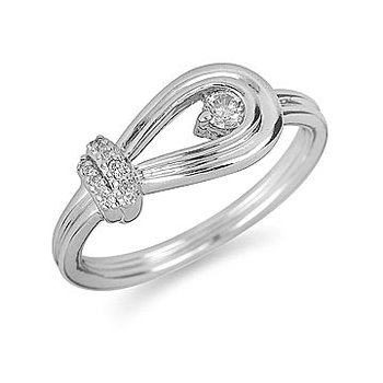 14K WG Diamond Love Knot Ring