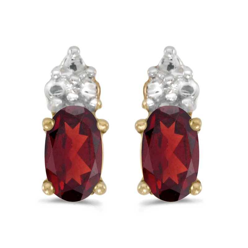 Color Merchants 10k Yellow Gold Oval Garnet Earrings