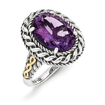 Sterling Silver w/14k Antiqued Amethyst Ring