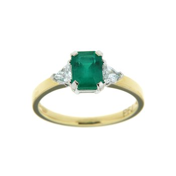 18k Two Tone Gold Ring with Emerald & Diamond