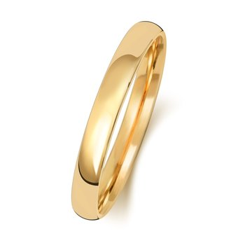 9Ct Yellow Gold 2.5mm Slight Court Wedding Ring