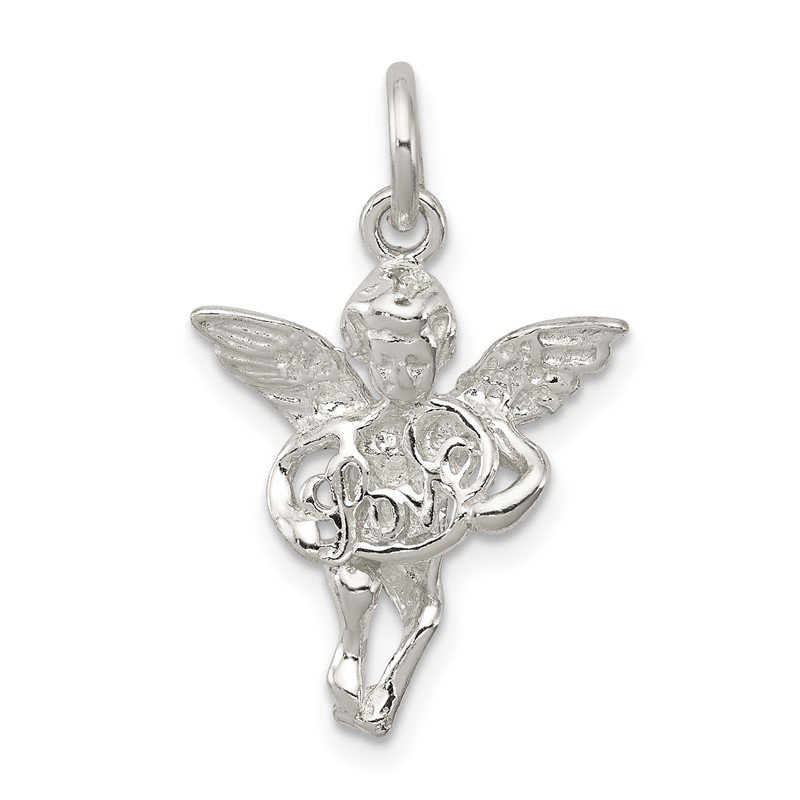 Quality Gold Sterling Silver Polished & Textured Angel Love Pendant