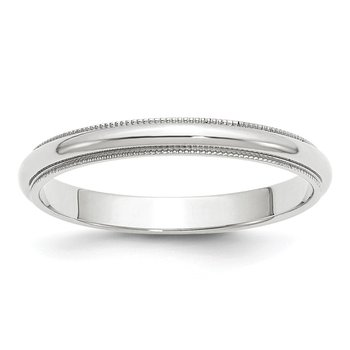 14k White Gold 3mm Milgrain Band
