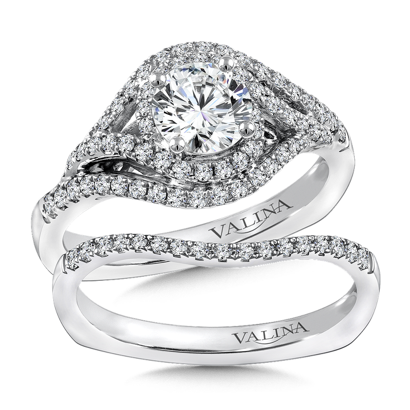 Valina Diamond Engagement Ring Mounting in 14K White/Rose Gold (.36 ct. tw.)